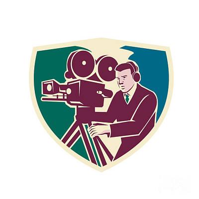 Cameraman Moviemaker Vintage Camera Shield Art Print by Aloysius Patrimonio