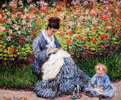 Painting - Camille Monet And A Child In The Artist's Garden In Argenteuil by Claude Monet