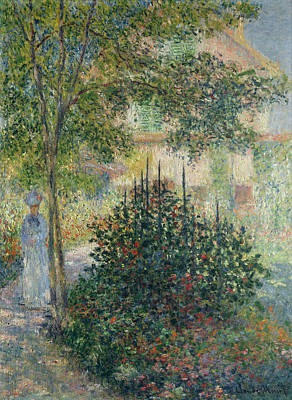 Camille Monet In The Garden At Argenteuil Art Print by Claude Monet