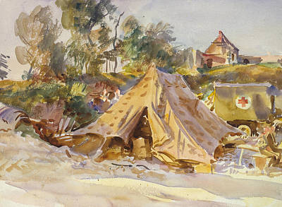 Pine Tree Painting - Camp With Ambulance by John Singer Sargent