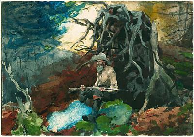 Winslow Homer Drawing - Campfire. Adirondacks by Winslow Homer