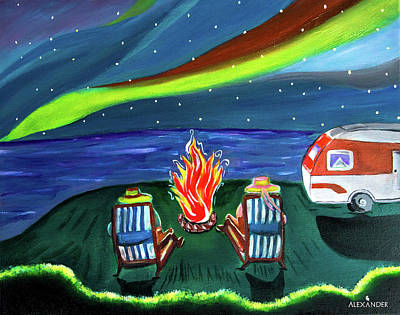 Colorado Fires Painting - Camping Time by Alexander Mosquera