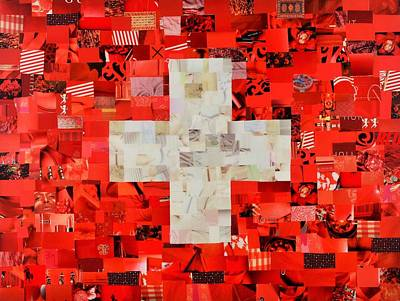 Swiss Mixed Media - Swiss Flag by Claudia Di Paolo