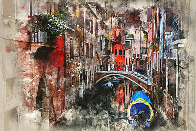 Digital Art - Canal In Venice by Kai Saarto