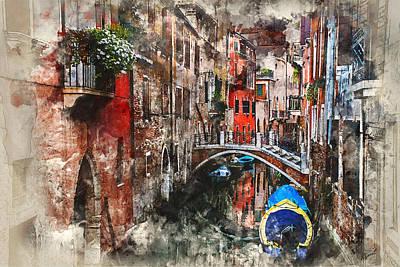 Digital Art - Canal In Venice by Kai Saarto