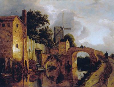 Jacob Painting - Canal With Bridge by Jacob van Ruisdael
