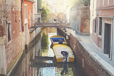 Canals Of Venice With Instagram Vintage Style Filter Art Print by Brandon Bourdages