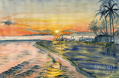 Painting - Candidasa Sunset, Bali Indonesia by Melly Terpening