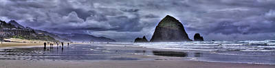 Foggy Beach Photograph - Cannon Beach Panorama by David Patterson