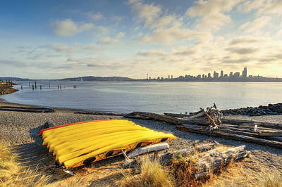 Photograph - Canoe And Seattle Skyline by Songquan Deng