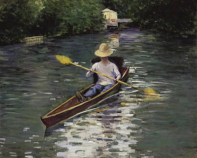 Rowing Painting - Canoe On The Yerres River by Gustave Caillebotte