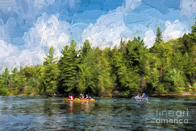 Photograph - Canoe Paddling In Algonquin Park by Les Palenik