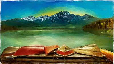 Linda King Painting - Canoes At Lake Patricia 6144 by Linda King