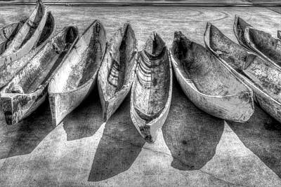 Collectible Sports Art Photograph - Canoes In Black And White by Debra and Dave Vanderlaan