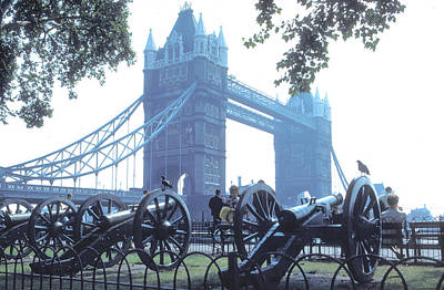 Photograph - Cannons At Tower Bridge In London by Carl Purcell