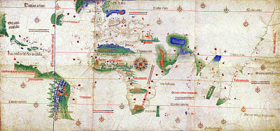 Drawing - Cantino World Map, 1502.  by Granger
