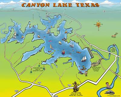 Cartoon Digital Art - Canyon Lake Texas by Kevin Middleton