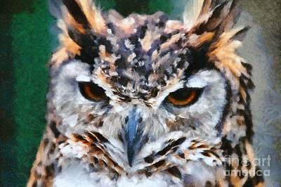 Animals Paintings - Cape Eagle Owl by George Atsametakis