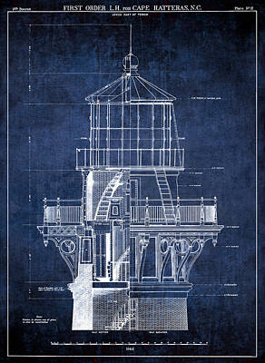 Old Blueprint Digital Art - Cape Hatteras Lighthouse Blueprint  1869 by Daniel Hagerman