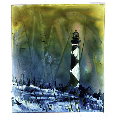 Etching Mixed Media - Cape Lookout Lighthouse by Ryan Fox