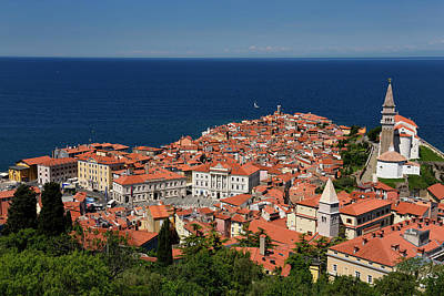 Photograph - Cape Madonna At Point Of Piran Slovenia On Blue Adriatic Sea Wit by Reimar Gaertner