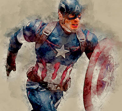 Mixed Media - Captain America by Marvin Blaine