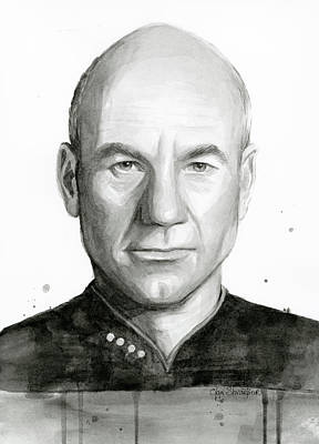 Science Fiction Painting - Captain Picard by Olga Shvartsur