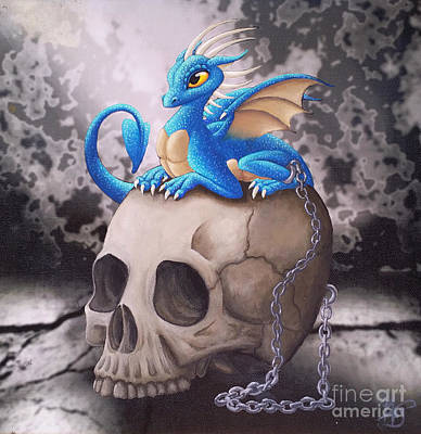 Painting - Captive Dragon On An Old Skull by Mary Hoy