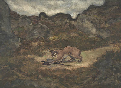 Drawing - Caracal And Pheasant by Antoine-Louis Barye