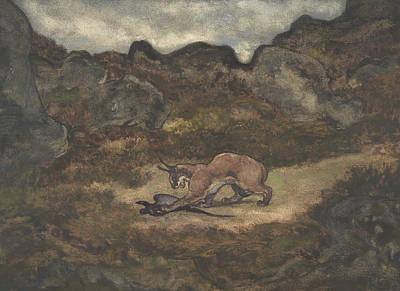Pheasant Drawing - Caracal And Pheasant by Antoine-Louis Barye