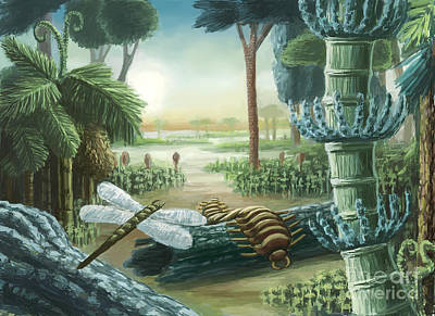 Meganeura Photograph - Carboniferous Landscape, Artwork by Spencer Sutton