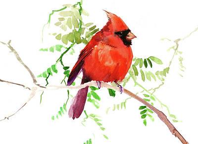 Painting - Cardinal Bird, Chrismtas Artwork by Suren Nersisyan