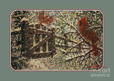 Snow Scene Painting - Cardinals Il Garden Gate Clothing by Jim Rehlin