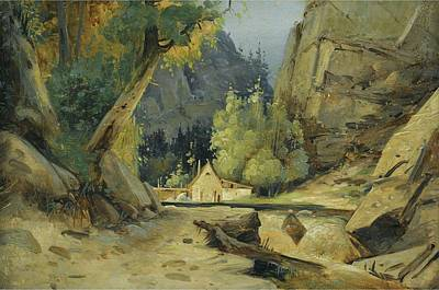 Popstar And Musician Paintings Royalty Free Images - Carl Blechen, Mill in a valley Royalty-Free Image by Carl Blechen
