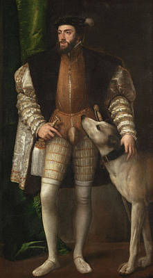 Puppies Painting - Carlos V With A Hound by Titian