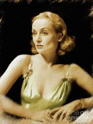 Painting - Carole Lombard, Vintage Actress by Mary Bassett