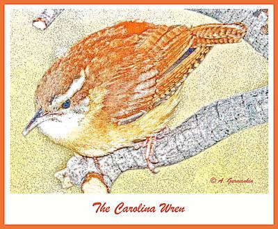 Carolina Wren Digital Art - Carolina Wren On Tree Branch by A Gurmankin
