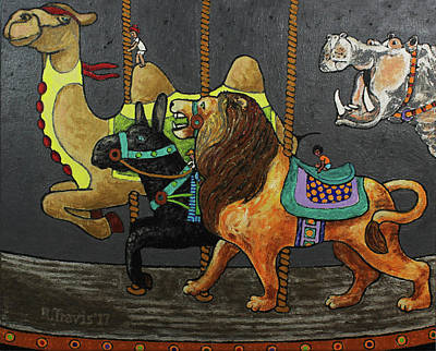 Small Painting - Carousel Kids 2 by Rich Travis