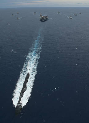 Carrier Strike Group Formation Of Ships Print by Stocktrek Images