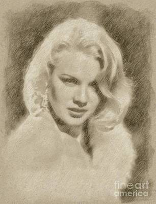 Fantasy Drawings - Carroll Baker Vintage Hollywood Actress by Frank Falcon