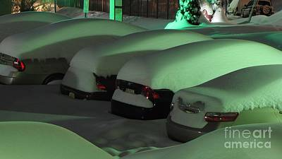Snowpocalypse Photograph - Cars Covered In Snow by Ben Schumin