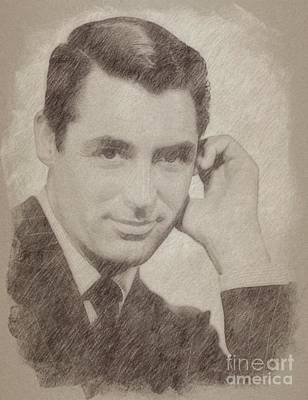Singer Drawing - Cary Grant Hollywood Actor by Frank Falcon