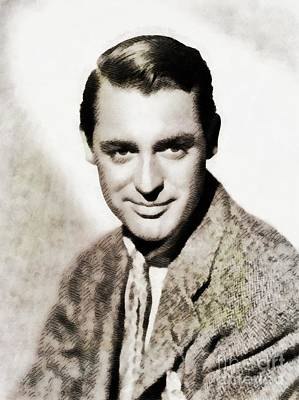 Cary Grant Wall Art - Painting - Cary Grant, Vintage Actor by John Springfield