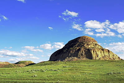 Blue Mudstone Print featuring the photograph Castle Butte In Saskatchewan by Charline Xia