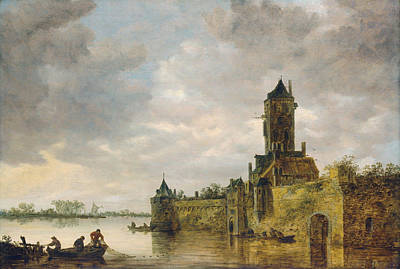 Chateau Painting - Castle By A River by Jan van Goyen