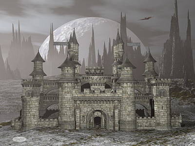 Castle By Night - 3d Render Art Print by Elenarts - Elena Duvernay Digital Art