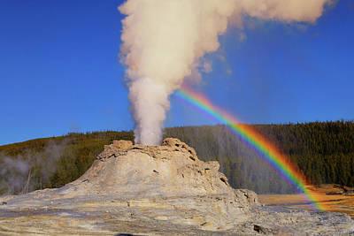 Photograph - Castle Geyser Rainbow by Greg Norrell
