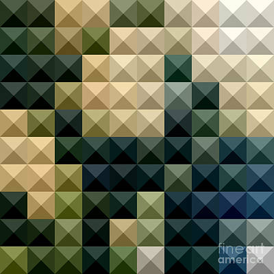 Castleton Green Abstract Low Polygon Background Art Print