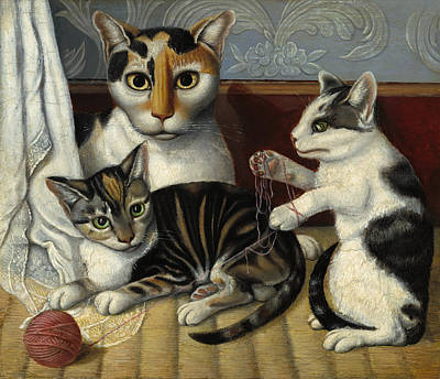 Painting - Cat And Kittens by American 19th Century