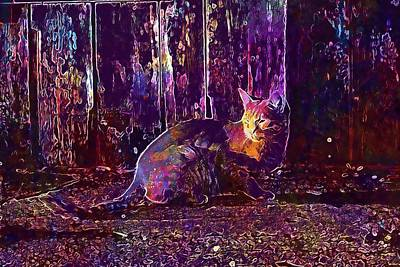 Digital Art - Cat Autumn Wood Evening Light  by PixBreak Art